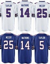 Wholesale NIK Game Stitched Football Billlls Taylor Watkins McCoy Reed Jim Kelly Dareus White Blue Jerseys Mix Order