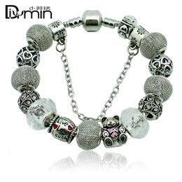 2016 New 925 Silver plated Teddy Bear Bracelets Faceted big hole Murano Glass Beads Charm DIY Fashion Jewelry bs-080