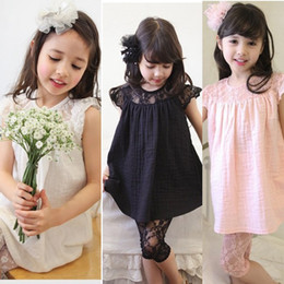Wholesale Korea summer new girls bubble cotton short sleeve on baby unlined upper garment lace render minutes of pants suit
