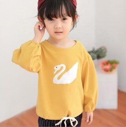 Wholesale Swan Kid - 2016 New products arrival White Swan Embroidery Kids Girls T-shirt cotton casual shirt 4 colors 5pcs lot