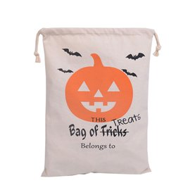 Wholesale 2016 Halloween Candy Gift Sack Treat or Trick Pumpkin Printed Bat Canvas Bag Children Party Festival Drawstring Bag