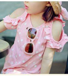 Camisas novas do partido On-line-Atacado 2016 roupa nova coreano Caçoa meninas verão do partido da princesa colete de algodão dot strapless blusa top T-shirts BH2077