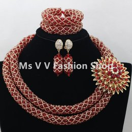 2 rows 2018 red gold Wedding African Beads Jewelry Set Dubai 18k Gold Jewelry Set Bridal necklace bracelet earrings silver jewelry sets
