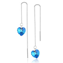 Wholesale heart shape sterling silver women s long chain Earrings with heart cut crystals rhinestones Beautiful hot valentine s day present gif