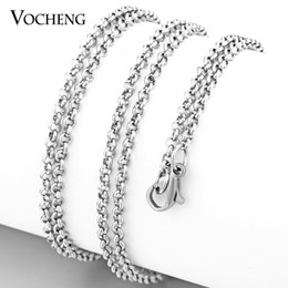 VOCHENG DIY Jewelry 3 Colors Plating 80cm Stainless Steel Chain Lobster Clasp Long Necklace VC-185