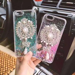 Luxury Bling Rhinestones Diamond Cell Phone Case Brooch Design Decorative Back Cover Liquid Quicksand Mobile Phone Cases for IphoneX 8plus