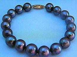 Charming 10-11mm round tahitian black blue pearl bracelet 7.5-8inch 14k gold clasp