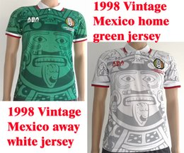 Benwon -1998 Vintage Mexico home green soccer jersey 1998 Classic Mexico away white football shirts adult's thai quality sports jerseys wear