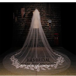 Real Picture 3.5m Length 3m Width Custom Made White Ivory Long Wedding Veil With Lace Bridal Wedding Accessories Hot Sell