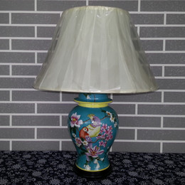 Wholesale Antique Chinese Hand painted ceramic Table Reading Lamp Flower and birds Pattern Porcelain Bedside lamp Household decoration