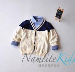 Wholesale news children boys thick cotton cardigan two color Crochet v neck gentlemen style cardigan autmn clothes