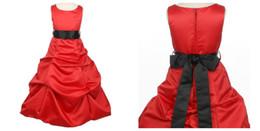 2016 new high collar fashion Flower Girls' Dresses black belt long section of lovely girl dress Fille avec robe rouge plus size