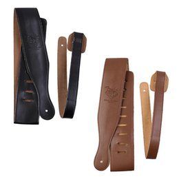 Wholesale Adjustable Black Soft Leather Thick Strap for Electric Acoustic Guitar Bass