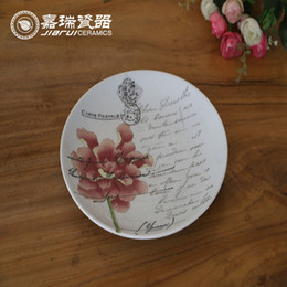 Wholesale Retro Chinese hand painted Round Hanging Wall Plate Ceramic Floral Birds Pattern Table decoration Household Firnishing ornaments
