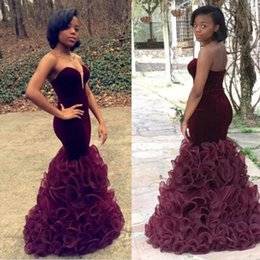 Wholesale Satin Dressing Gowns Women China - Burgundy African Prom Dresses Mermaid Sweetheart Organza Ruffles Women Celebrity Evening Gowns Trumpet Imported China L324