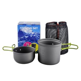 Wholesale Outdoor Sport Traveling Camping Hiking Portable Cooking Aluminum Alloy Non stick Pots Pans Folding Bowls Cookware Set