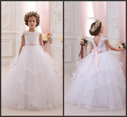 2016 Newest Ivory Baby Girl Dresses Bridesmaid Birthday Wedding Party Holiday Lace Tulle Flower Girl Dresses