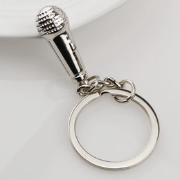 Free Shipping microphone Keychains Metal Keychains Fashion Metal Silver Lovers Keychains Beautiful Accessories Kychains