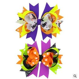wholesale 20pcs lot Halloween bowknot kids hair clips children multicolor grosgrain Hair bows Hair Accessories Free Shippng