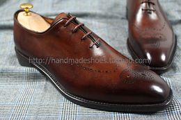 Descuento los hombres hechos a mano de los zapatos oxford Envío libre a medida hecho a mano puro genuino del becerro vestido / clásico / del color del zapato oxford casual vino tinto de los hombres de cuero
