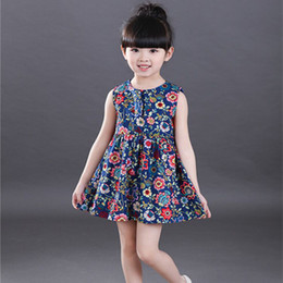 New Casual Cotton Girl Dress Sleeveless Baby Girls Clothes Flowers Girl Print Dresses Vestido Infantil Kids Clothes