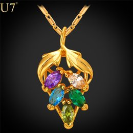 unique New Cute Colorful Grape Necklace Platinum   18K Real Gold Plated Wholesale Jewelry Charm Crystal Pendant Women Jewelry P786