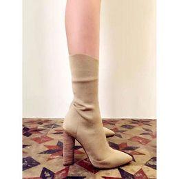 Wholesale Shape Up Sandals Women - 2016 Kim Kardashian Knit Chunky High Heels Slingbacks Stretch High Heel Boots Pointed Toe Autumn Sandals Ankle Bota Shoes Woman
