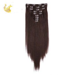Wholesale Straight Clip In Hair Extensions Virgin Remy Clip in Hair for Short Hair Practical Black Virgin Bundle Hair ST