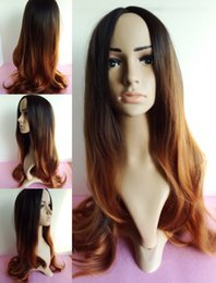 Wholesale Cheap Wigs Weaves - new brand popular ombre black root to brown hair hand woven scalp no lace front synthetic cheap celebrity ombre wigs women