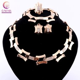 Women Gold silver plated with earrings Statement necklace Jewelry sets bracelet crystal Trendy Boho necklace for party wedding