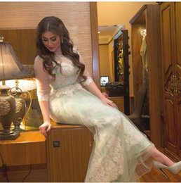Wholesale Mint Green Long Prom Dresses A Line Illusion Jewel Lace Beaded Sequined Half Sleeves Sash Peplum Ankle Length Christmas Party Evening Gowns