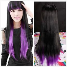 FREE SHIPPINGLolita Anime Cosplay longue perruques droites Party Girls violet mixte perruque pleine noir à partir de perruque anime girl black fabricateur