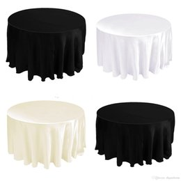 Wholesale 108 quot Satin Tablecloth Table Cover White Black Round for Banquet Wedding Party Decor Wholesales CTH