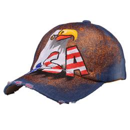 Women Hat Painting Baseball Cap Unisex USA Flag Eagle Shape Baseball Hat Men Bone Women Casquette Shiny Art Caps Denim 2017 Fashion