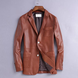 Wholesale Men s genuine leather suit shoppe item hot sell clothing import sheepskin made best hand handle high end material wear very handsome luxury