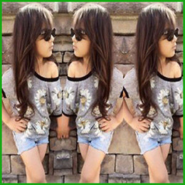 fashion style baby girls shoulder round neck tops t-shirts denim short pants children clothing set flower print hot selling cheap prices