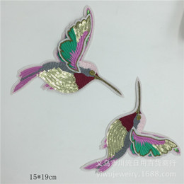 Cosiendo flores 3d en venta-20pcs / lot Los pájaros de las lentejuelas bordado 3D gran parche apliques de flores de hierro en los remiendos para la ropa de vestir cose en el Applique de Hign Moda