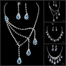 Wholesale 2016 Hot In Stock many style Wedding Jewelry Sets Silver Plated Necklace Earrings Sets Rhinestone Wedding Accessories luxury