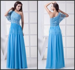 Half Sleeve Evening Dress Light Blue Lace Prom Dress With Sequins One-shoulder Neck Long Chiffon Dress Elegant Cheap Formal Dress Sexy