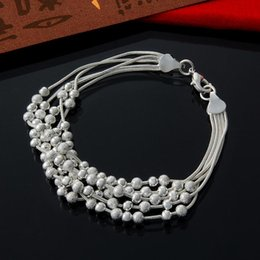 Factory direct wholesale and retail 925 Silver 5 line active matte Beads Bracelet Silver Jewelry