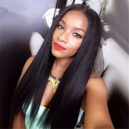 Middle Part Yaki Straight Human Hair Wigs With Baby Hair Mongolian Lace front Wig Yaki Straight Glueless Lace Wig For Black Woman
