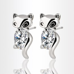 Korean Cute Animal Fox Earrings Silver Gold Plated Crystal Zircon Stud Earrings for Women Fashion Jewelry boucle d'oreille High Quality