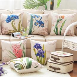 Wholesale European Pillow case pillowcase Florals back cushion automobile home supplies canvas sofa pillow cover Cotton linen quality cm