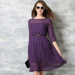 New Spring And Summer Fashion Half Sleeve Knee Length Women Chiffon Casual Dress High Quality Purple Party Dresses H008