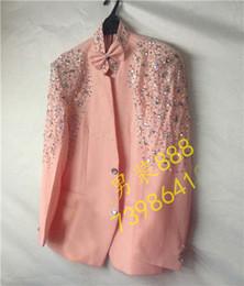 Free ship 100% real pink rhinestone beading tuxedol jacket vintage stage performance wedding jacket