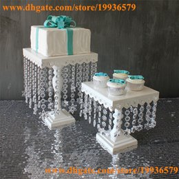 Wholesale 8 quot quot wide Square metal cake stands with hanging crystal bead for wedding events