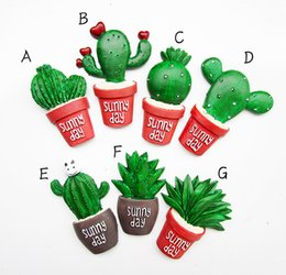 Wholesale 2016 new arrived Lovely succulents potted cactus fridge magnets resin fridge magnet stickers home decor freeshipping