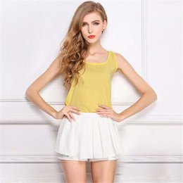 Wholesale Loose Solid Tanks For Women - Sexy Casual Loose Women Camisoles Solid Natural Color Underwear Camisoles Tanks with Chiffon Polyester for Ladies TM0009