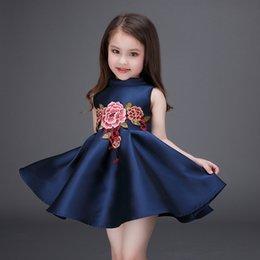 Pequeñas faldas de los niños en Línea-DHL envío libre 2016 vestido de la princesa niña de primavera y verano de gama alta vestido pequeño bordado al por mayor de los niños de la falda de la princesa de la ropa