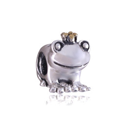 Wholesale Lampwork Frog Charm - 925 Silver Frog Prince Charm Beads 18K Golden crown For Pandora Bracelets Charms DIY European Jewelry Loose bead DIY beads for necklaces